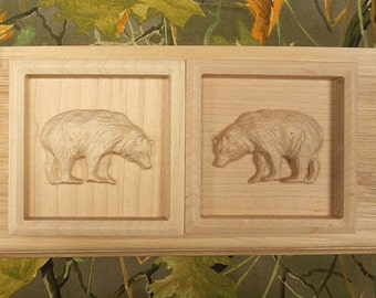 Pair of Bear Corner Blocks, Woodland Rosette Trim Block, Window Trim Block, Door Trim Blocks, Home Improvement Rosette Blocks, Wood Carving