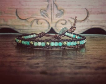 Single wrap Brazilian Amazonite bracelet