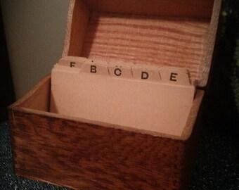 Primitive Vintage Wooden Dovetail Oak Recipe File Card Organized Mission Box