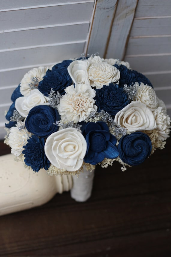Navy blue and ivory wedding bouquet sola bouquet wedding
