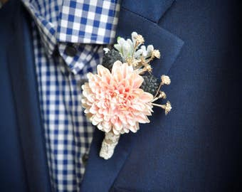 Blush and Navy Wedding Boutonniere, Thistle Wedding, Blush Boutonniere, Dusty Miller, Alternative Boutonniere, Gold Boutonniere