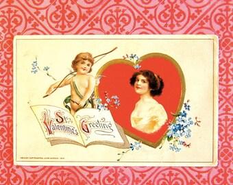 Vintage Winsch Valentine Post Card, Antique Pretty Girl