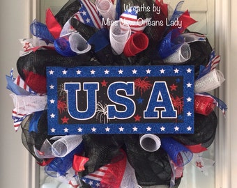 Patriotic USA WREATH, Red, White, Blue and Black