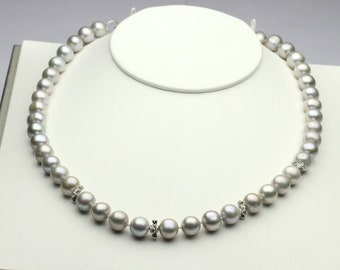 9-10mm grey necklaces,near round fresh water pearl necklace,dyed gray pearl beads,silver clasp.