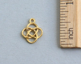 Gold Knot Charm, Knot Charm, 24K Gold Plated Knot Charm, Celtic Knot Charm, Gaelic charm, Gold Celtic Knot Pendant, 14mm ( 1 piece )