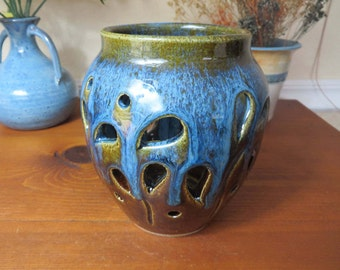 Candle Holder, Stoneware Candle Holder, Stoneware Candle Lantern, Pottery Candle Holder, Luminary, Wheel Thrown Pottery