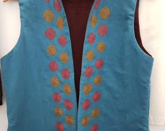 Summer Sleeveless jacket, boho women's jacket, blue ladies waistcoat,  handloom cotton hand embroidered
