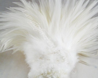 "Rooster Feathers Saddle SELECT Color 3-5"" per strung FOOT (30cm)  (about 200 feathers)"