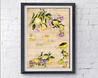 Stampe per cucina, Quadri cucina, Stampe con frutta, Stampa poster, Stampe Botaniche, Stampe Murali, Poster frutta, Stampe digitali, Limoni