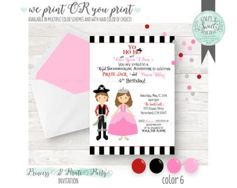 PRINTABLE INVITATION. Princess and Pirate Birthday Party. Includes Hair Color of Choice & Multiple colors. We-print OR you-print