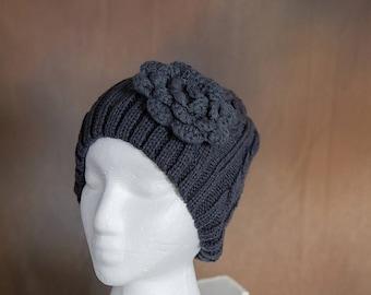 Dark Gray Knit Beanie with Crochet Flower