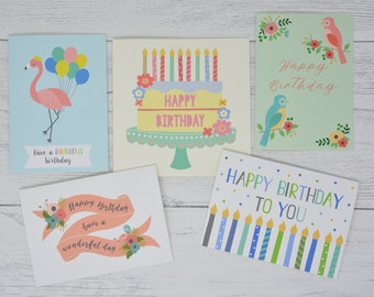 Pack of 5 Birthday Cards, Birthday Cards Pack, Multipack of Birthday Cards, Birthday Cards for friends & family, Birthday Cards bundle