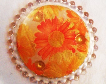 Personalized Glass Round COASTER, Orange, Yellow Daisy Flowers Paper on Gold Paint, Collage by Yael Bolender