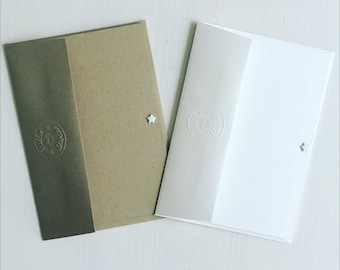NOTE CARDS // White note cards // White postcards // Set of 5 note cards // Kraft note cards // White star note card