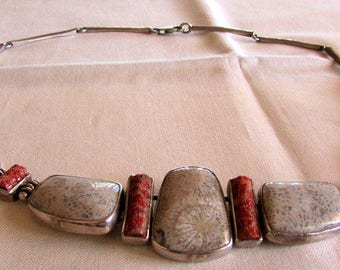 Sterling Silver, Apple Coral and Fossil Coral Necklace