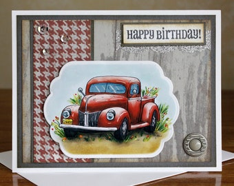 "Hand Made and Stamped Red Antique Truck 4.25"" X 5.5"" Card with Envelope"