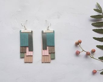 Leather fringe statement earrings, Upcycled leather fringe earrings