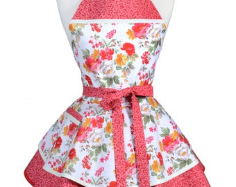 Ruffled Retro Apron - Ivory and Red Farmhouse Floral Kitchen Apron - Womens Sexy Cute Pinup Apron with Pocket