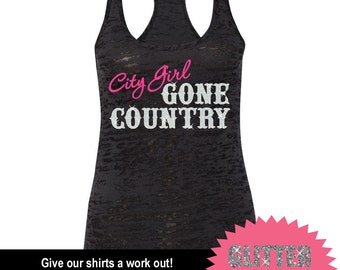 GLITTER City Girl Gone Country Tank // Mud Tank // Country Tank // Southern Clothing  (65-NL33) Hot Pink Vinyl - White Glitter BLACK TANK