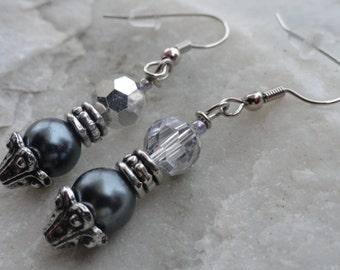 Silver Sparkle Beaded Earrings