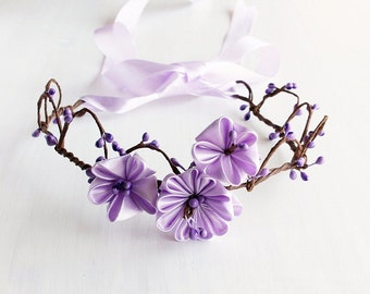 Lilac Kanzashi Crown, Flower Girl Wreath, Purple Berry Crown, Boho Halo, Floral Crown, Woodland Halo, Lilac Flower Crown, Flower Girl Crown