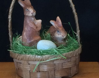 Wicker Basket with Bunnies and Eggs