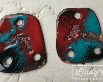 Teal, Red and Black Enamel Earring Charms