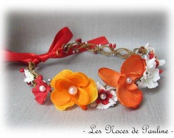 Flower Crown wedding red and orange Orchid fascinator bridesmaid Fascinator bridesmaid witness witness