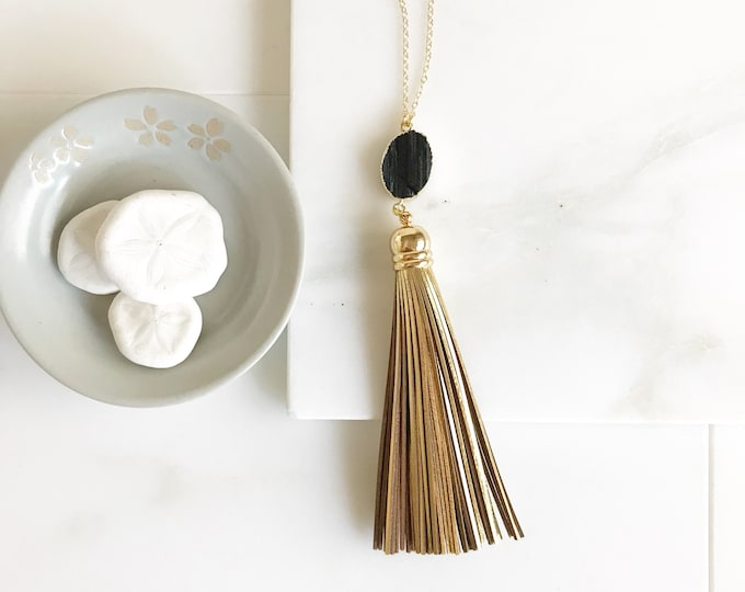 Black and Gold Tassel Necklace. Black Stone and Gold Tassel Necklace. Long Necklace. Jewerly. Bohemian Jewelry. Gift.