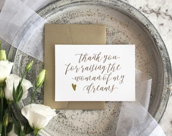 Thank You For Raising The Woman of My Dreams, Father Of The Bride Gift, Mother Of The Bride Gift, Mom Gift Wedding, Gifts For Parents, Card