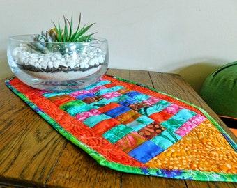 Batik Table Runner, Quilted Batik Table Runner