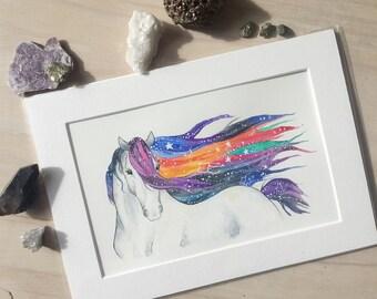 Horse watercolor watercolour equine art Rainbow cosmic horse painting - Original A4 watercolour