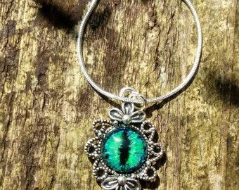 Dragon Eye, Pendant, Hand Painted Glass Eye, Steampunk, Tibetan Silver Pendant, Gothic, Victorian, Boho, Fairy, Pagan, Dragon Lore, Fantasy