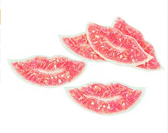 Light Pink Mouth lips Sequin Embroidered Iron on Patch Applique LP040118