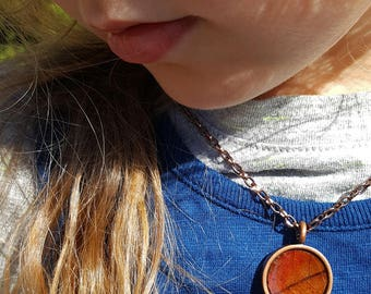 Brown and Red Oak Pendant Necklace in Copper