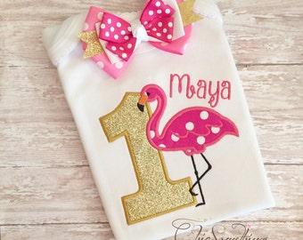 Flamingo shirt, flamingo birthday shirt, flamingo tutu, flamingo outfit, flamingo birthday, flamingo party, first birthday bow 01.18
