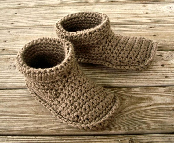 Crocheted Slippers - Mens Crochet Slippers in Taupe - Mens Slippers Size US 11 - 12 - Womens Accessories