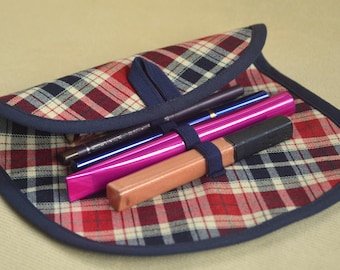 Makeup organizer Red blue tartan plaid Blue makeup holder Wool organizer Cosmetics holder Fabric organizer Roll cosmetic Bag accessories