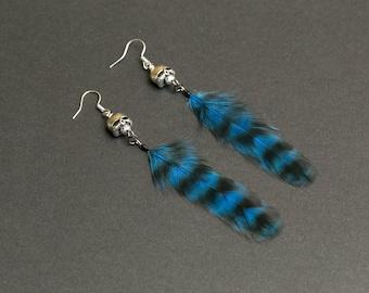 Skull Earrings: Blue feather Silver skull Jewelry Goth earrings Punk jewelry Gothic earrings Rocker earrings Occult jewelry Halloween Gift