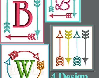 Arrow Monogram Font Frame Embroidery Design Arrow Embellishment Embroidery Design Arrow Design Fill Stitch Satin Stitch Embroidery Design