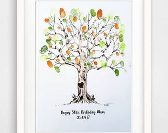 Personalised Fingerprint Tree & Ink pads - gift, wedding, christening etc