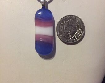 Transgender Flag Art Glass Necklace