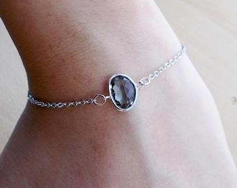 Minimal Silver Dark Grey Crystal Bracelet - Dainty Simple Delicate Minimalist Chain Bracelet - Wedding Bridal Bridesmaids Maid of Honor Gift