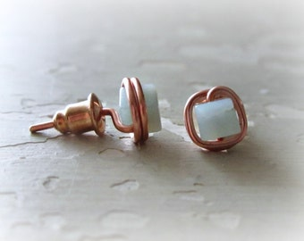 Cube Stud Earrings, Square Post Earrings, Copper Post Earrings, Amazonite Studs,Stone Stud Earrings, Aqua Stud Earrings,Copper Stud Earrings