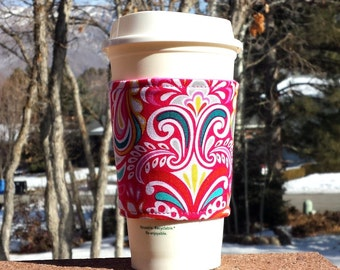 FREE SHIPPING UPGRADE with minimum -  Fabric coffee cozy / cup holder / coffee sleeve / can koosie / mason jar cozy - Fountains of color