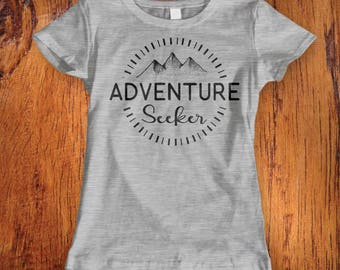 Womens Tshirt Adventure Seeker Shirt Womens adventure tshirt shirt for traveling shirt for camping  ladies adventure tshirtChristmas Gift