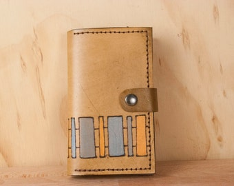 iPhone 6 Wallet Case Leather - Geometric iPhone Case with the Lino Pattern - Brown, Blue and Orange