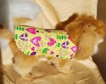 Spring Hearts Print Dog Coat