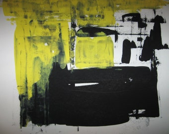 """Abstract Minimal  No 2204 Ink on Paper 18x24"""" Modern Industrial"""
