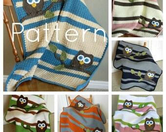 PATTERN Owl Baby Blanket Crochet Pattern Instant Download Bonus Lovey Size Pattern